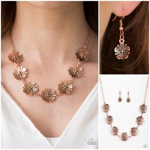 Paparazzi Poppin Poppies Copper Necklace Set
